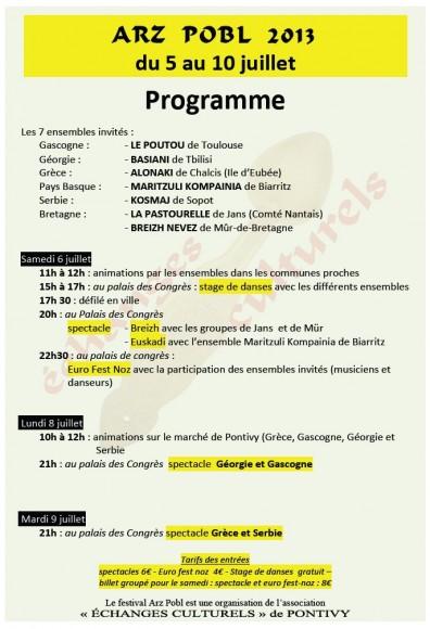 Arz Pobl 2013 Programme